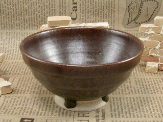 陶器ご飯茶碗(やや大)鉄赤色 【200104】の画像