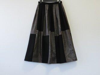 *アンティーク着物*菱模様泥大島紬のパッチスカート(5マルキ・裏地つき)の画像