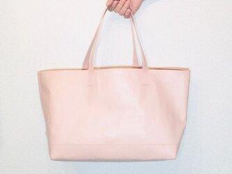 豚革 ピンク トランスポート ソール トートバッグ レザーバッグの画像