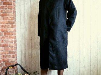 黒リネン ロングコート 単品/卒業・卒園・入学・フォーマル・セレモニーに M~5L/4サイズ プチオーダー可の画像