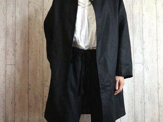 黒リネン ノーカラーJK 単品/卒業・卒園・入学・フォーマル・セレモニーに M~5L/4サイズ プチオーダー可の画像
