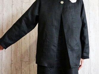 黒リネン ボレロジャケット 単品/卒業・卒園・入学・フォーマル・セレモニーに M~5L/4サイズ プチオーダー可の画像