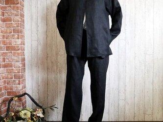 黒リネン ボレロJK&パンツセット/卒業・入学・フォーマル・セレモニー 冠婚葬祭 M~5L/4サイズ 送料無料 セミオーダー可の画像