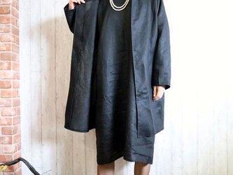 黒リネン ノーカラーJK &OPアンサンブル/卒業・入学・フォーマル・冠婚葬祭 M~5L/4サイズ 送料無料 セミオーダー可の画像