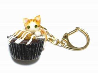 にゃんこのしっぽ○カップチョコにゃんこ○キーホルダー○猫○茶とら白猫2の画像