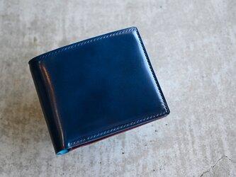 【コードバン ディープブルー×ブッテーロ ボルドー】二つ折り財布 ハーフウォレット コンパクトウォレットの画像