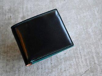 【コードバン ブラック×ブッテーロ ターコイズ】二つ折り財布 ハーフウォレット コンパクトウォレットの画像