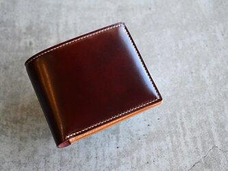 【コードバン バーガンディー×ブッテーロ ナチュラル】二つ折り財布 ハーフウォレット コンパクトの画像
