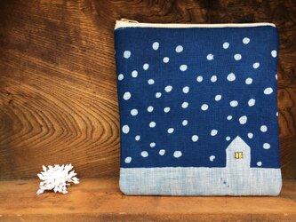 藍染め ポーチ 「雪降る日」の画像