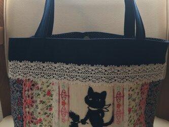 黒猫クロッチ帆布deパッチワークトートバッグの画像