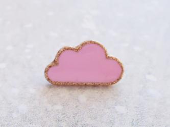 (2個) 雲のボタン ピンク フランス製の画像