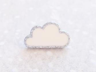 (2個) 雲のボタン 白×シルバー フランス製の画像