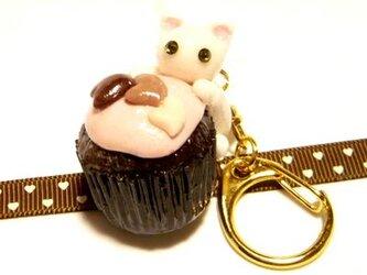 にゃんこのしっぽ○カップチョコにゃんこ○キーホルダー○猫○白猫1の画像