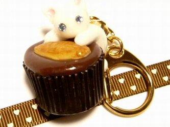 にゃんこのしっぽ○カップチョコにゃんこ○キーホルダー○猫○白猫3の画像
