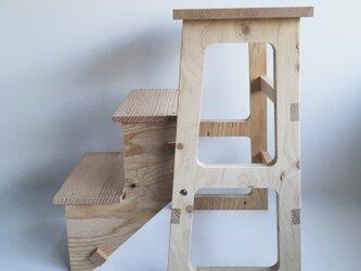 2way 踏み台 スツール 木製 ラフなスタイルがお洒落の画像
