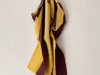 手織りストール 菜の花色×江戸紫の画像