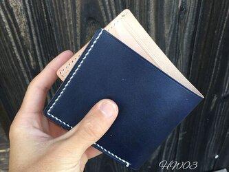 【送料無料】二つ折り財布 ネイビー HW03の画像