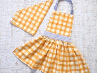 【100-120】キッズエプロン・三角巾セット オレンジチェック水彩 女の子用ギャザーエプロンの画像