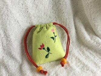 ミニ巾着・グリーン ~花柄 b~の画像