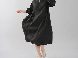 【wafu】中厚 リネンワンピース スリットネック タックカフス ワンピース ドレス / ブラック a003a-bck2の画像