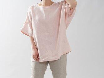 【wafu入門編】中厚地 リネンブラウス ビックTシャツ ゆったり Tシャツ ビッグT/シェルピンク t016i-spk2の画像