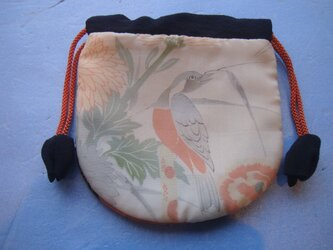 ■ 古布 手作り巾着 【やさしい色合いの小鳥】の画像