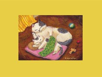 カマノレイコ オリジナル猫ポストカード「添い寝」2枚セットの画像