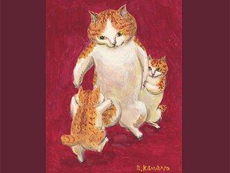 カマノレイコ オリジナル猫ポストカード「親子」2枚セットの画像