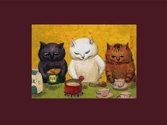 カマノレイコ オリジナル猫ポストカード「紅茶と牛乳」2枚セットの画像