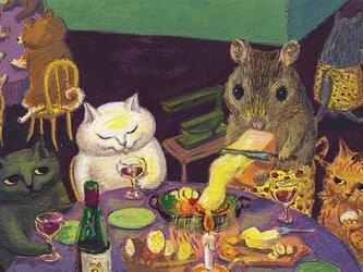 カマノレイコ オリジナル猫ポストカード「ねずみのレストラン」2枚セットの画像