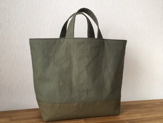 帆布のcafeバッグ(カーキ×オリーブ)の画像