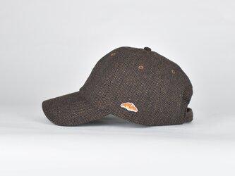 ウールブレンドヘリンボーンキャップ【ココアブラウン・ブラック】;クロワッサン刺繍付の画像