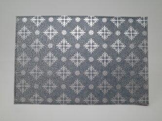 ギルディング和紙ブックカバー 西洋花 紺地 銀箔の画像