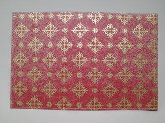 ギルディング和紙ブックカバー 西洋花 朱地 金箔の画像