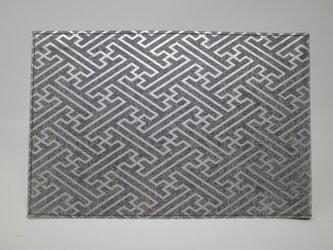 ギルディング和紙ブックカバー 紗綾 黒地 銀箔の画像