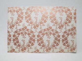 ギルディング和紙ブックカバー 桔梗 白地 銅箔の画像