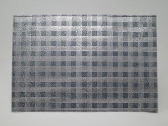 ギルディング和紙ブックカバー 格子 紺地 銀箔の画像