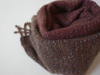 手織りカシミアマフラー・・カシスの画像