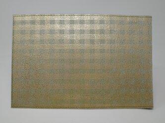 ギルディング和紙ブックカバー 格子 鶯地 金箔の画像