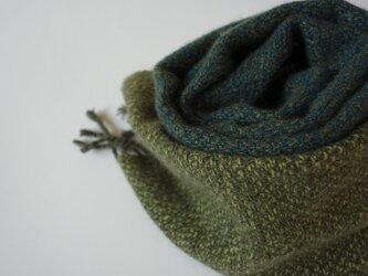 手織りカシミアマフラー・・深緑×黄緑の画像
