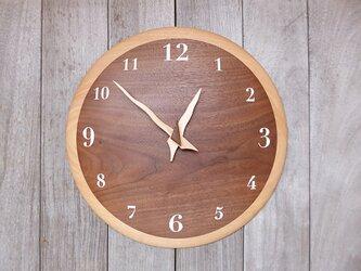 ブラックウォルナット奏 34㎝ 曲面時計euph 008s 文字盤白色の画像