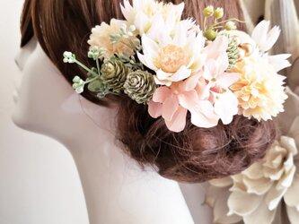 花funwari くすみピンクとアイボリー系の髪飾り14点Set No717の画像
