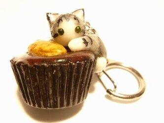 にゃんこのしっぽ○カップチョコにゃんこ○キーホルダー○猫○さばとら白猫3の画像