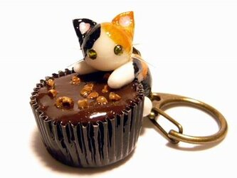 にゃんこのしっぽ○カップチョコにゃんこ○キーホルダー○猫○三毛猫1の画像