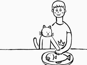 ボクノサカナ 男子 【 猫 選べます Tシャツ 】の画像