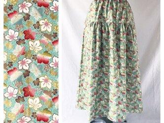 【和柄】はんなりと可愛いティアードスカート(四季風花:グリーン)の画像