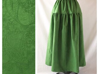 レディのためのティアードスカート(ジャガードペイズリー:グリーン)の画像