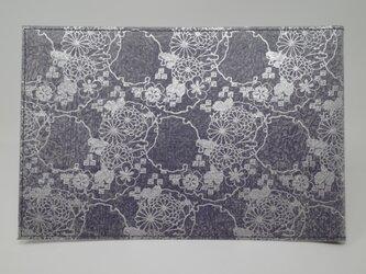 ギルディング和紙ブックカバー 菊 紫地 銀箔の画像
