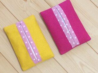 【動画あり】ポップカラー☆ピンク/イエロー帆布✖ピンクドット  ポケットティッシュケースの画像