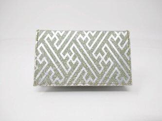 ギルディング和紙カードケース 紗綾 緑地 銀箔の画像